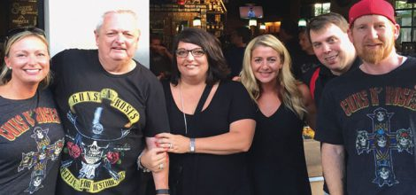 Sazerac's Mark Godenswager (second from right), treats RNDC-Ohio Division managers (l-r) Melissa Myers, Kevin Ryan, RNDC-Ohio President Stacy Gabel, Mel Fisher and Justin Tavares to the recent Guns-N-Roses concert in Cincinnati to celebrate the success of Gran Gala Orange Liqueur.